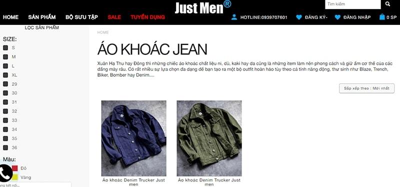 shop áo khoác jean nam tphcm - Just Men