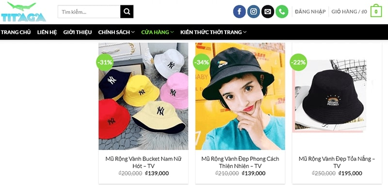 shop bán mũ bucket đẹp - Titaga