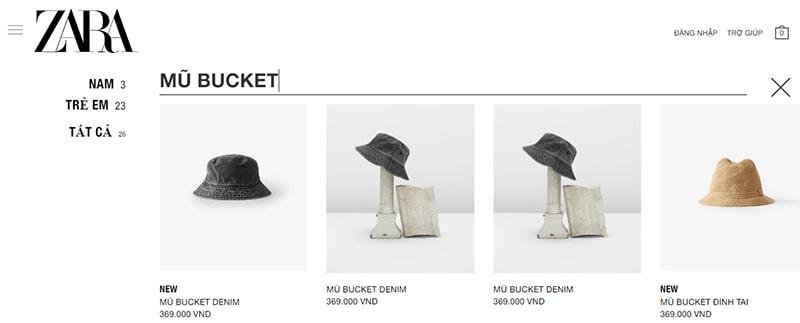 shop bán mũ bucket đẹp - Zara
