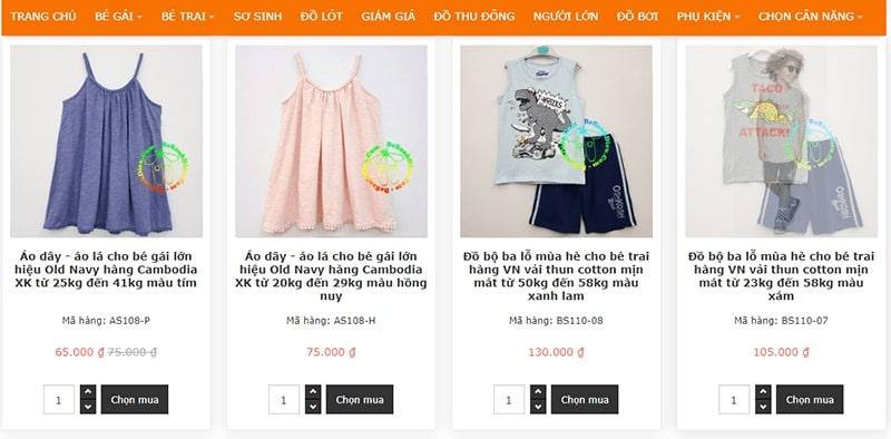 shop quần áo trẻ em xuất khẩu tphcm Bé Sành Điệu