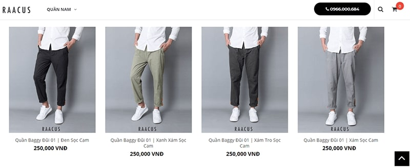 shop chuyên quần baggy nam Raacus