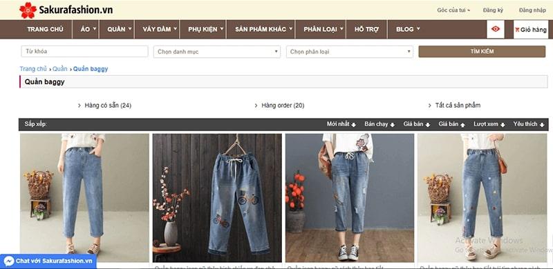 shop bán quần baggy nhiều mẫu đẹp - Sakura Fashion