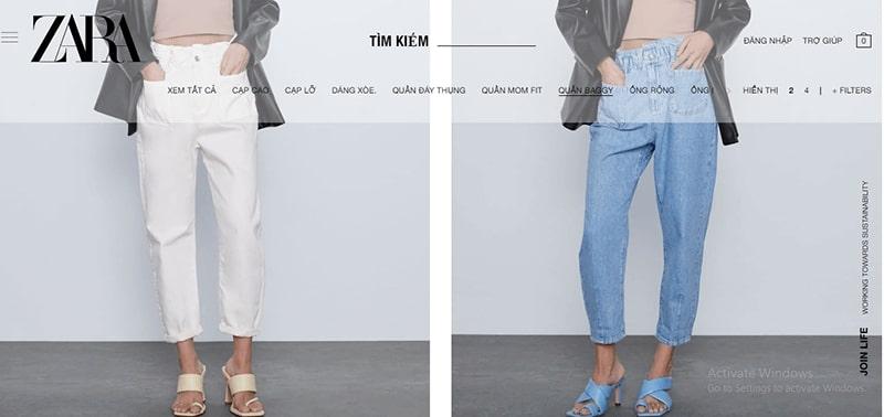 shop bán quần baggy nhiều mẫu đẹp - Zara
