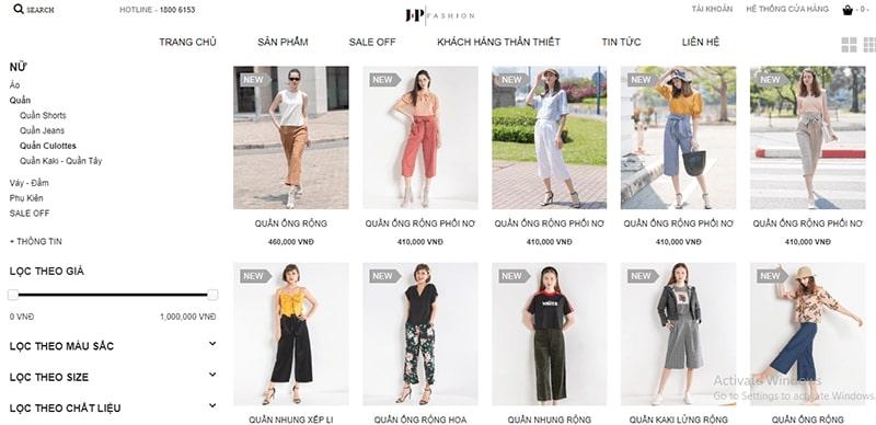 cửa hàng bán quần culottes đẹp uy tín - JP Fashion