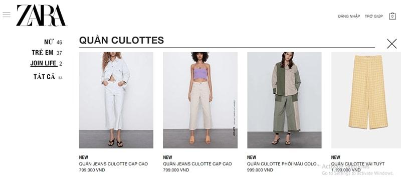 cửa hàng bán quần culottes đẹp uy tín - Zara