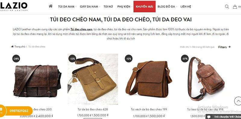 Shop túi đeo chéo nam đẹp - Lazio