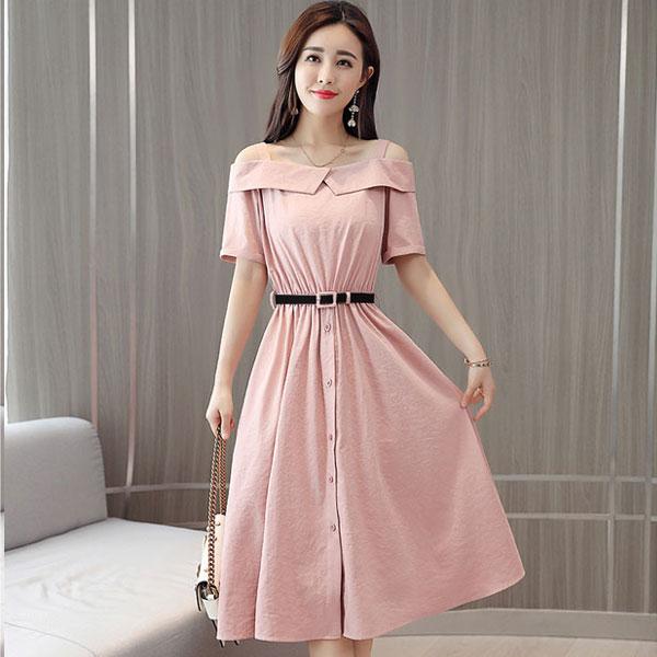 Đầm xòe công sở màu pastel