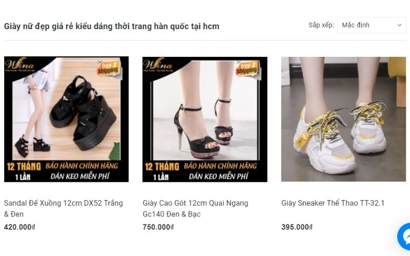 Cửa hàng giày dép Wina được sự tin yêu của nhiều chị em
