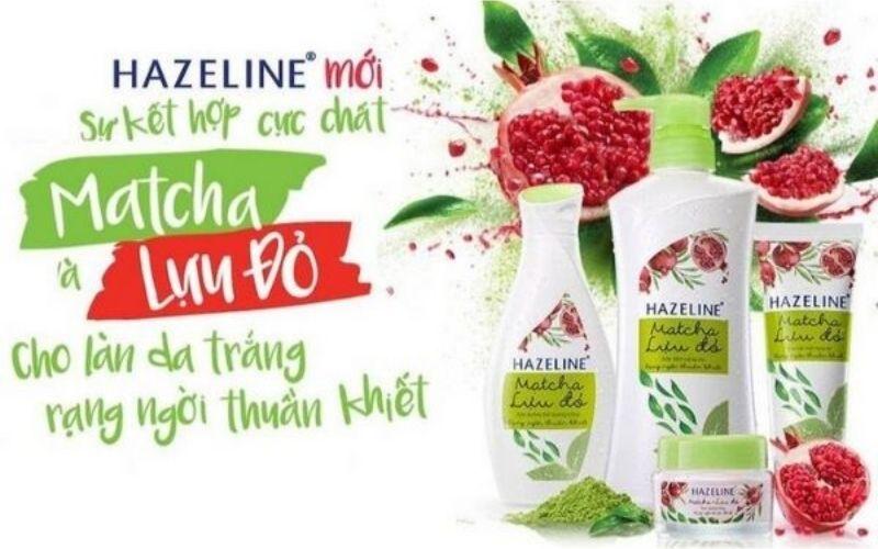 Sữa dưỡng thể trắng da toàn thân Hazeline Matcha lựu đỏ