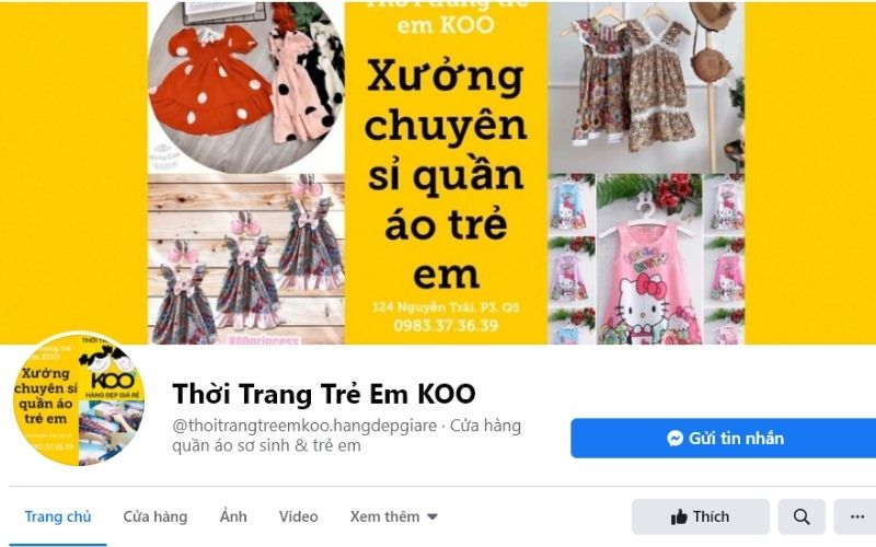 Thời trang trẻ em Koo còn là xưởng chuyên sỉ quần áo trẻ em tại quận 1