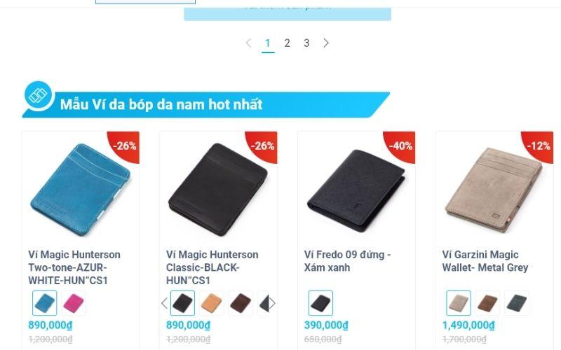 KOS shop có bán các loại ví với nhiều mâu mã, kiểu dáng khác nhau