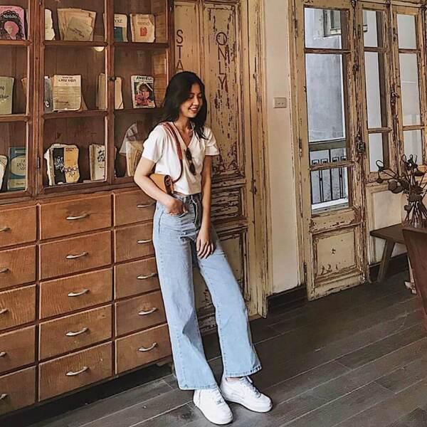 Quần jeans nữ form ống rộng