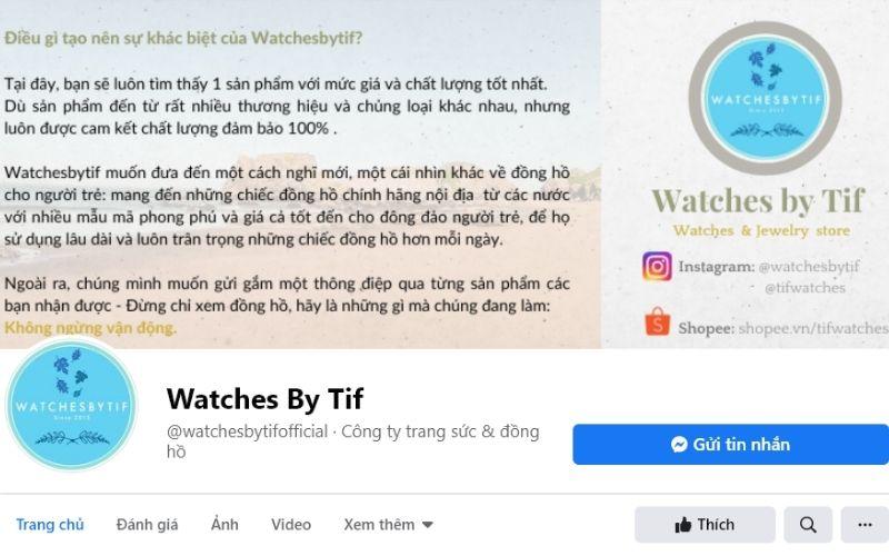 cửa hàng đồng hồ cặp đôi Watches By Tif